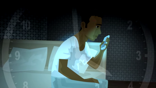 Illustration of man sitting on bed looking at his smartphone.