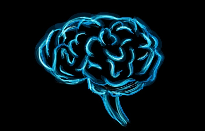 Sketch of a brain in bright blue on a black background.