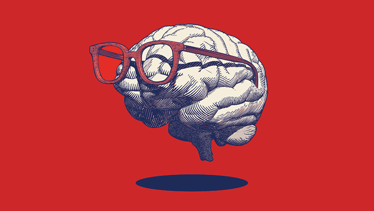 Animated brain wearing glasses on red background