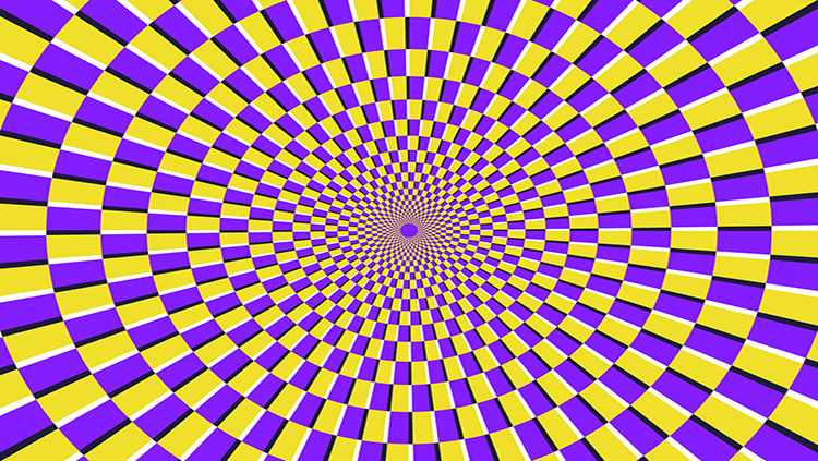 Purple and yellow wheel illusion