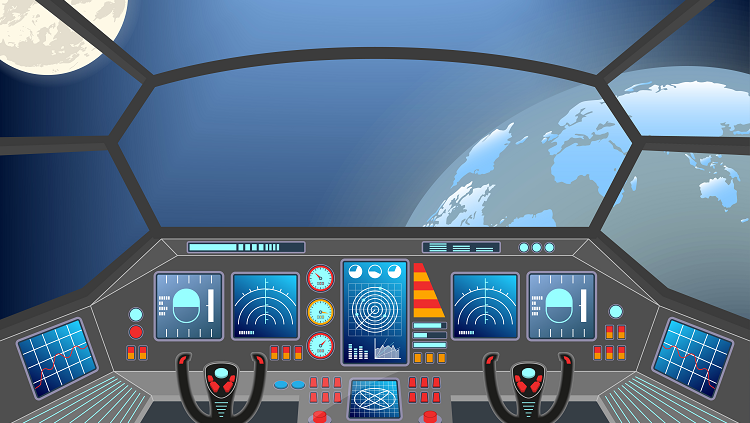 Cartoon image of a control center of a spaceship