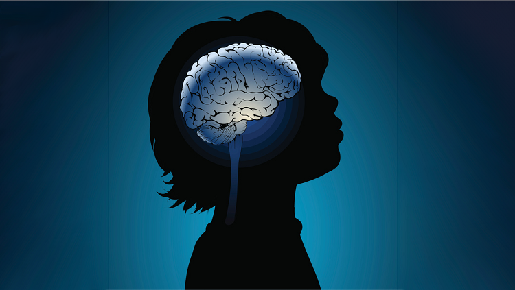 Image of child with illustrated brain