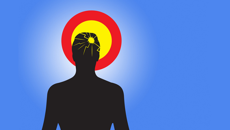 Illustration of human being with hurt head