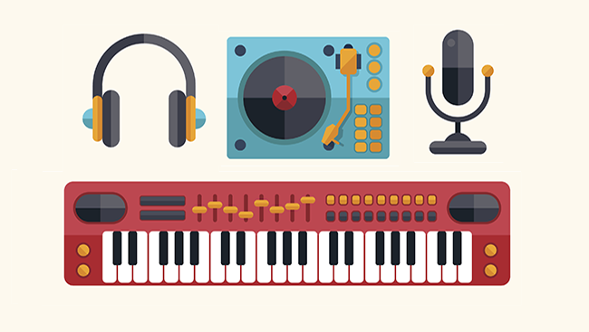 Illustrations of various musical instruments